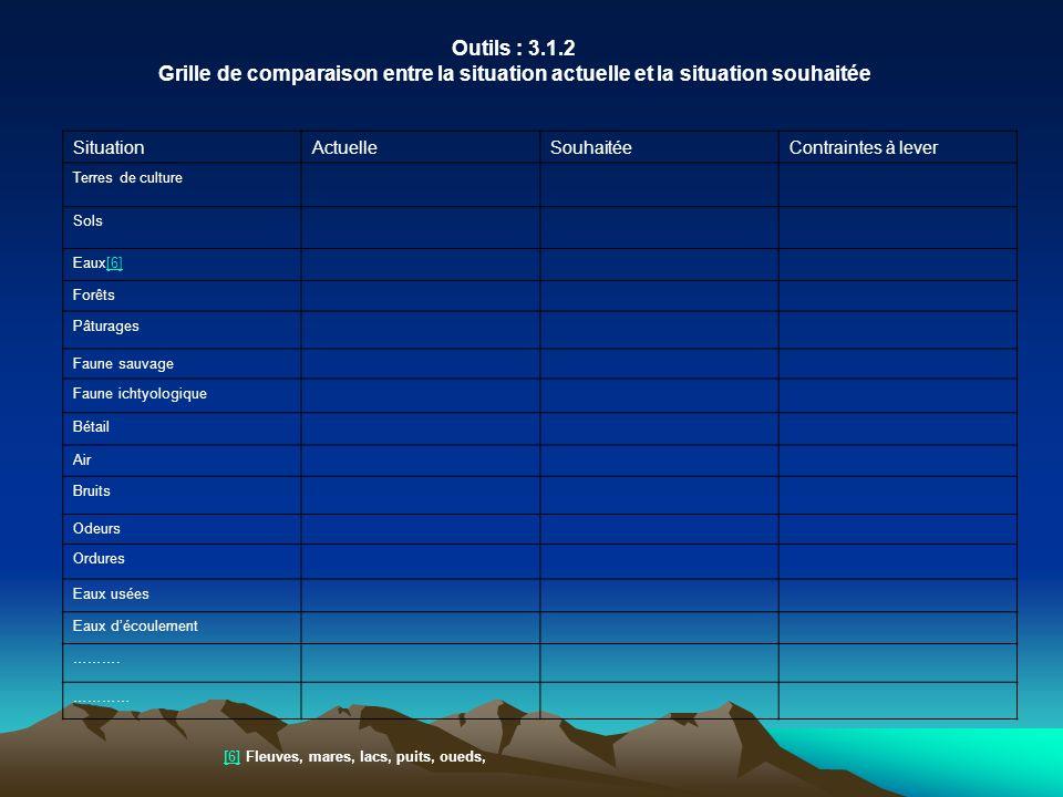 Outils : 3.1.2 Grille de comparaison entre la situation actuelle et la situation souhaitée SituationActuelleSouhaitéeContraintes à lever Terres de cul