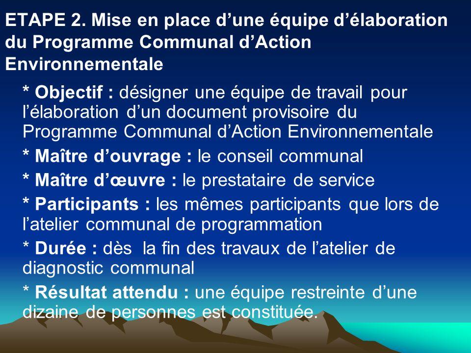 ETAPE 2. Mise en place dune équipe délaboration du Programme Communal dAction Environnementale * Objectif : désigner une équipe de travail pour lélabo