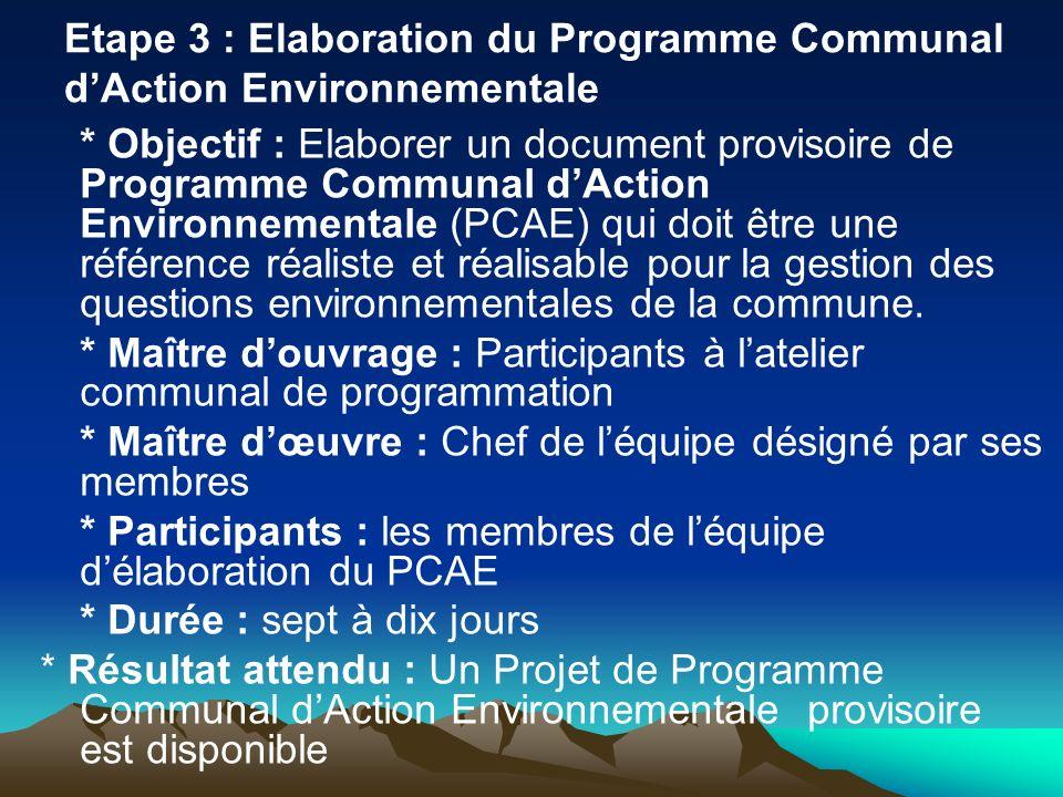 Etape 3 : Elaboration du Programme Communal dAction Environnementale * Objectif : Elaborer un document provisoire de Programme Communal dAction Enviro