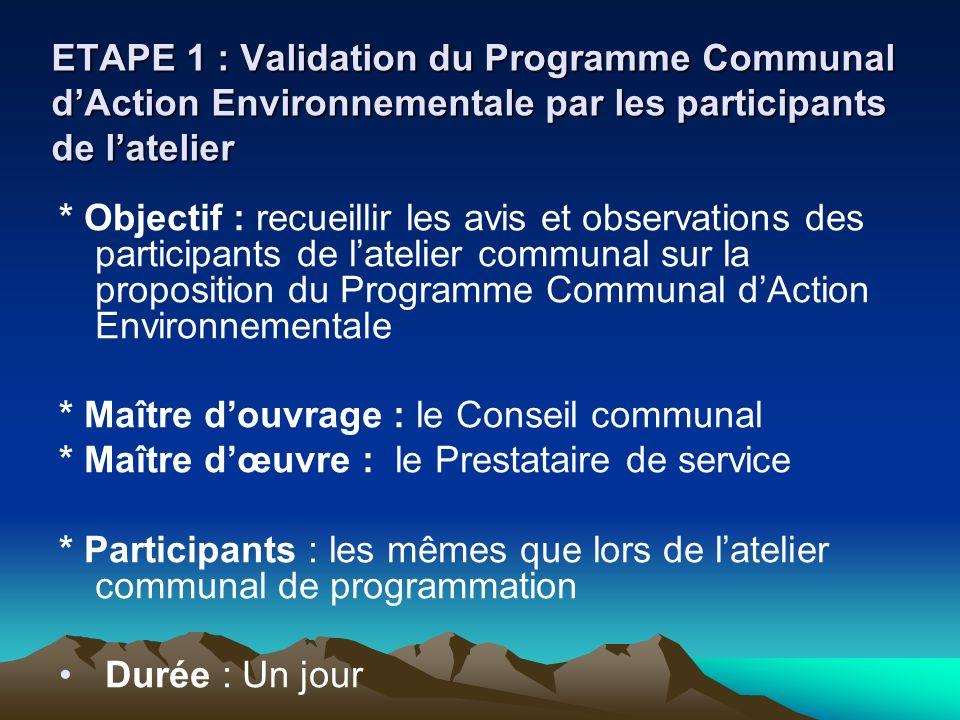 ETAPE 1 : Validation du Programme Communal dAction Environnementale par les participants de latelier * Objectif : recueillir les avis et observations