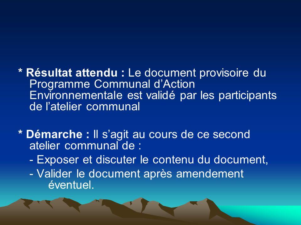 * Résultat attendu : Le document provisoire du Programme Communal dAction Environnementale est validé par les participants de latelier communal * Déma