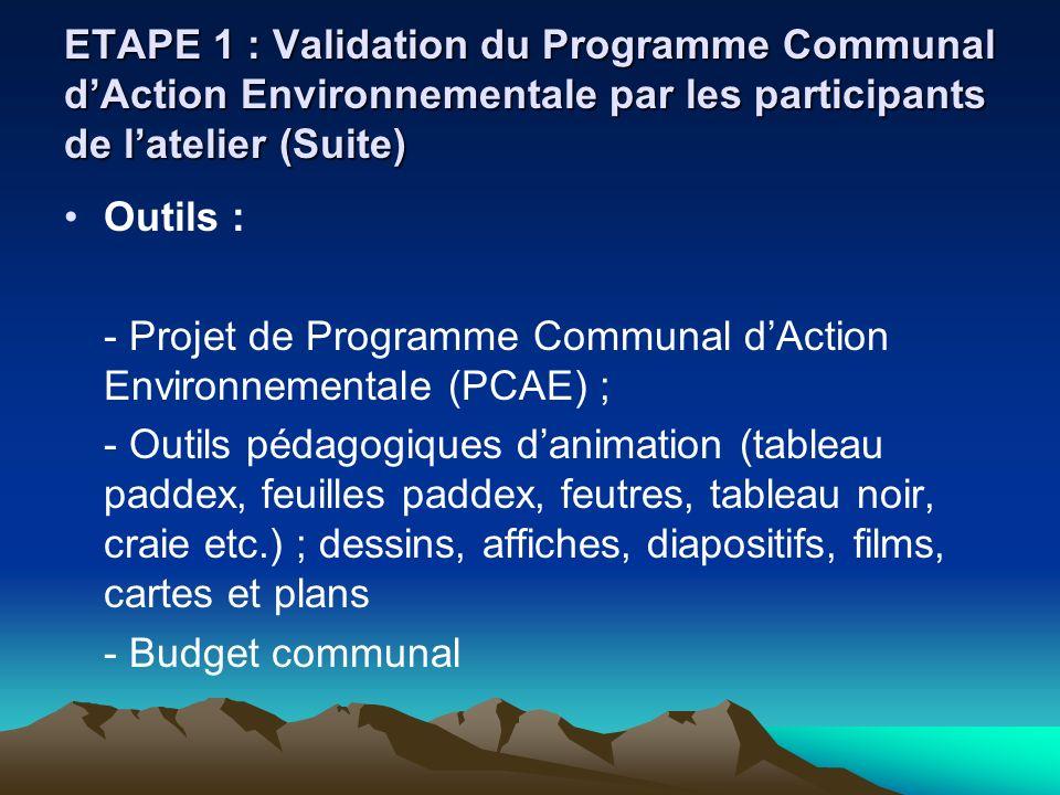 ETAPE 1 : Validation du Programme Communal dAction Environnementale par les participants de latelier (Suite) Outils : - Projet de Programme Communal d