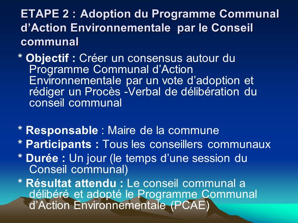 ETAPE 2 :Adoption du Programme Communal dAction Environnementale par le Conseil communal * Objectif : Créer un consensus autour du Programme Communal