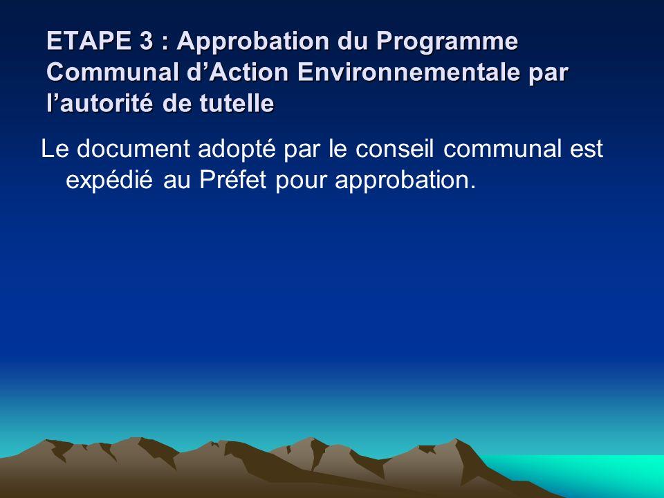 ETAPE 3 : Approbation du Programme Communal dAction Environnementale par lautorité de tutelle Le document adopté par le conseil communal est expédié a