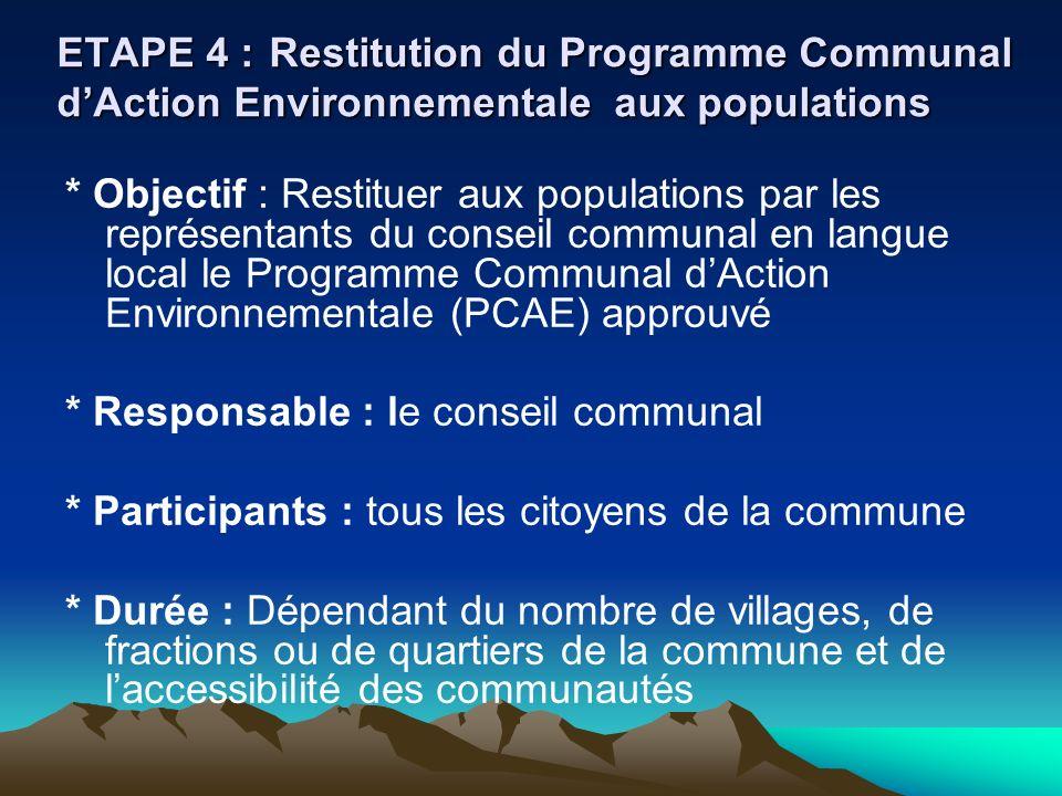 ETAPE 4 :Restitution du Programme Communal dAction Environnementale aux populations * Objectif : Restituer aux populations par les représentants du co