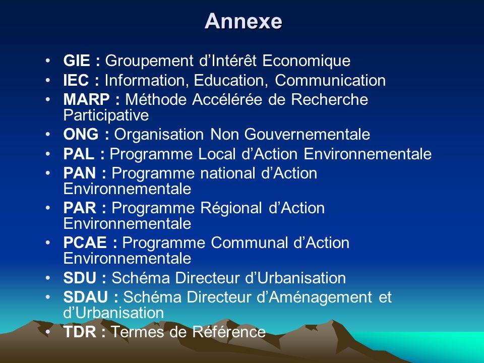 Annexe GIE : Groupement dIntérêt Economique IEC : Information, Education, Communication MARP : Méthode Accélérée de Recherche Participative ONG : Orga