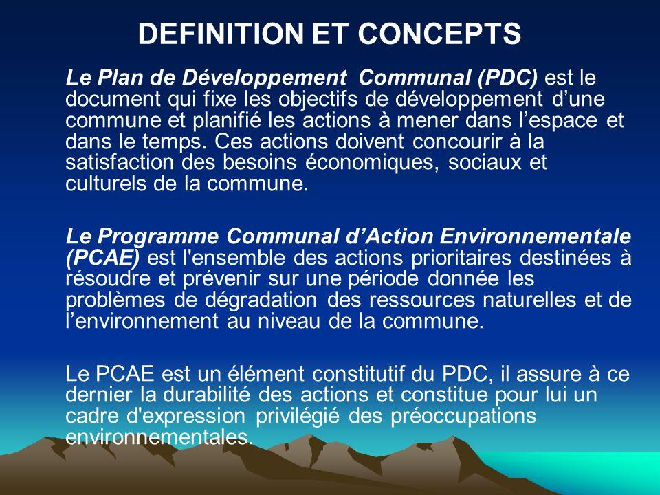 DEFINITION ET CONCEPTS Le Plan de Développement Communal (PDC) est le document qui fixe les objectifs de développement dune commune et planifié les ac