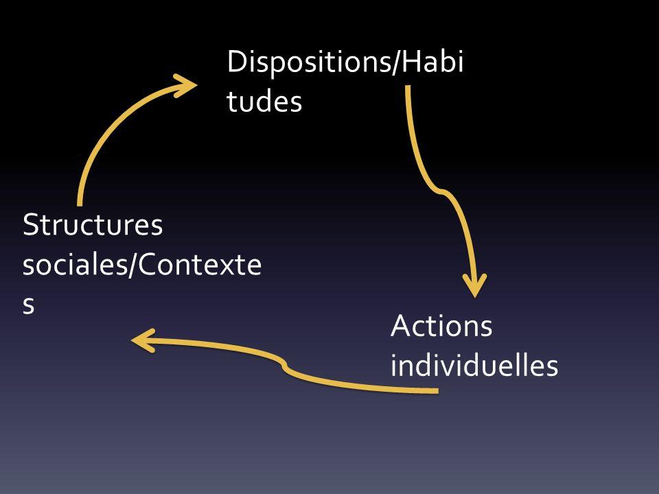 Structures sociales/Contexte s Schémas Actions individuelles