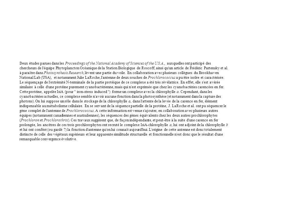 Deux études parues dans les Proceedings of the National Academy of Sciences of the U.S.A., auxquelles ont participé des chercheurs de l équipe Phytoplancton Océanique de la Station Biologique de Roscoff, ainsi qu un article de Frédéric Partensky et al.