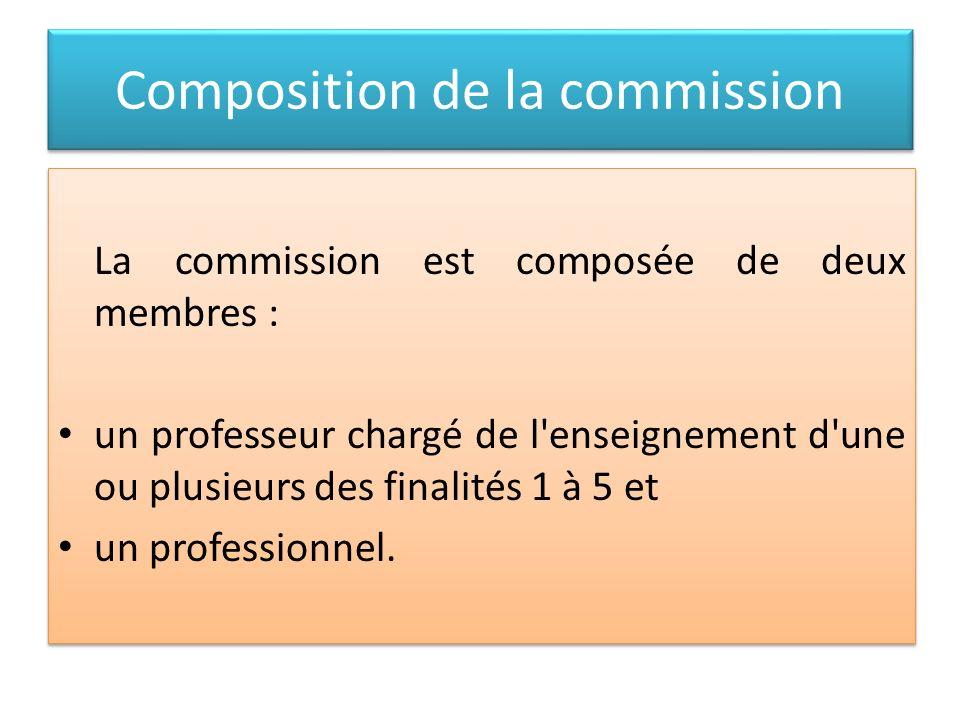 Composition de la commission La commission est composée de deux membres : un professeur chargé de l'enseignement d'une ou plusieurs des finalités 1 à