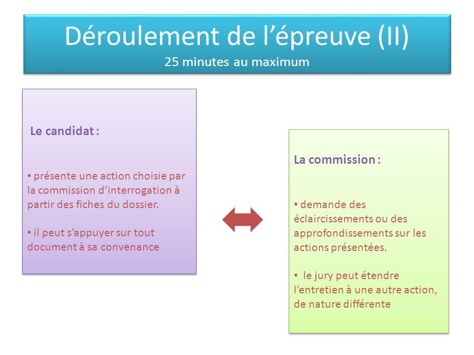 Déroulement de lépreuve (II) 25 minutes au maximum DddddD Le candidat : présente une action choisie par la commission dinterrogation à partir des fich