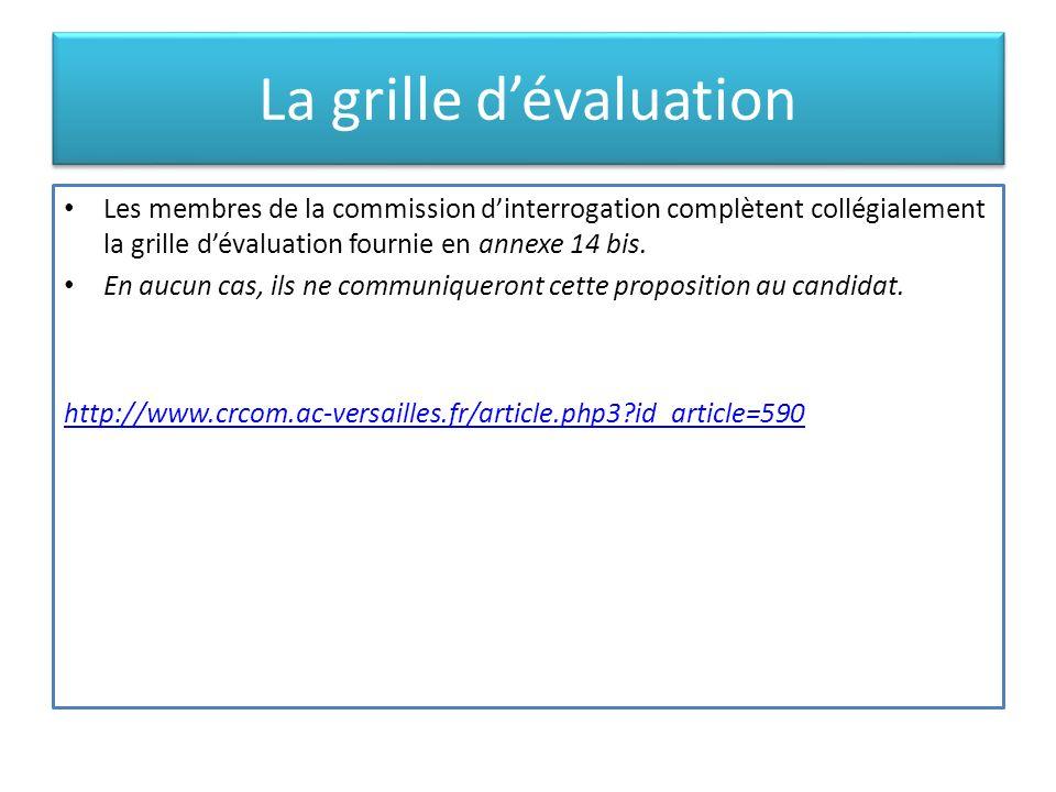 La grille dévaluation Les membres de la commission dinterrogation complètent collégialement la grille dévaluation fournie en annexe 14 bis. En aucun c