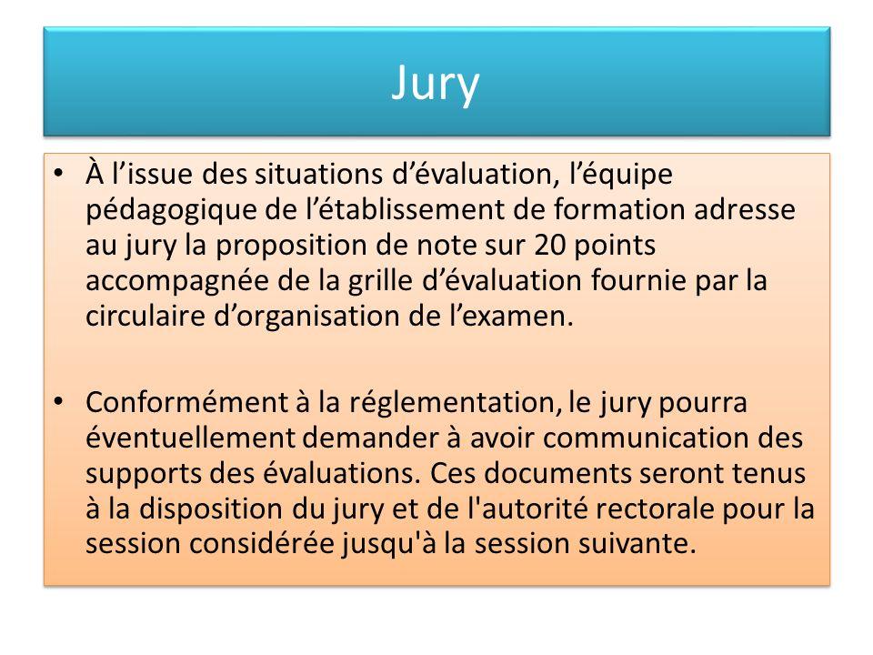Jury À lissue des situations dévaluation, léquipe pédagogique de létablissement de formation adresse au jury la proposition de note sur 20 points acco