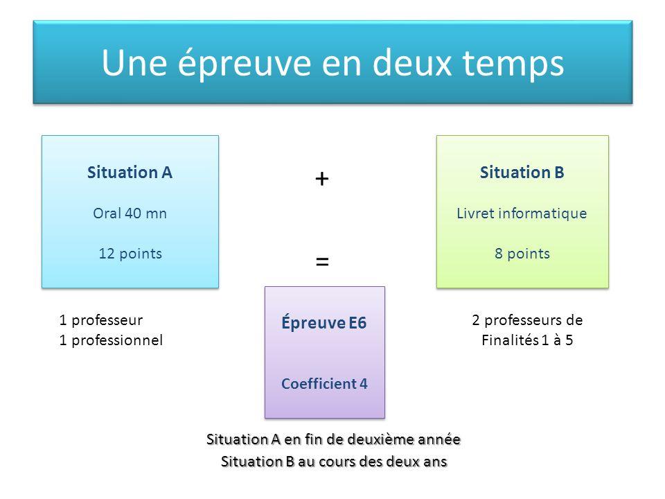 Une épreuve en deux temps Situation A en fin de deuxième année Situation B au cours des deux ans Situation A Oral 40 mn 12 points Situation A Oral 40