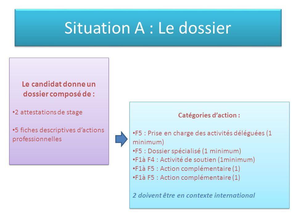 Situation A : Le dossier Le candidat donne un dossier composé de : 2 attestations de stage 5 fiches descriptives dactions professionnelles Le candidat