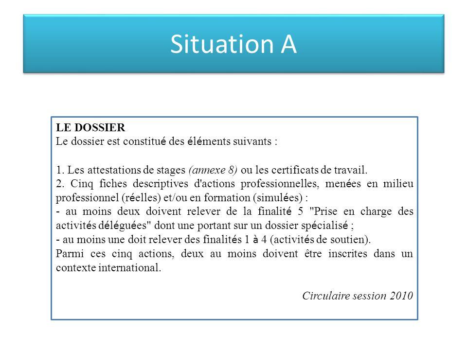 Situation A LE DOSSIER Le dossier est constitu é des é l é ments suivants : 1. Les attestations de stages (annexe 8) ou les certificats de travail. 2.