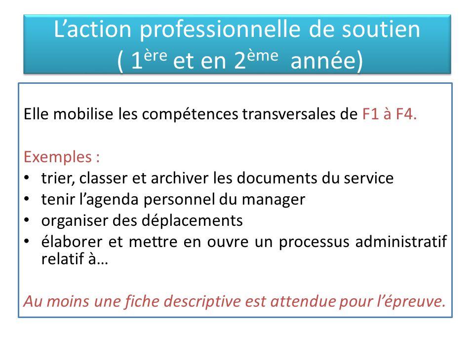Laction professionnelle déléguée (en 2 ème année) Elle permet de mettre en œuvre les compétences de F5.