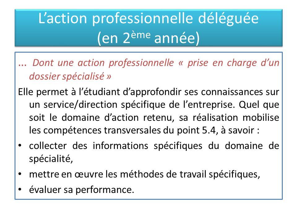 Laction professionnelle déléguée (en 2 ème année) … Dont une action professionnelle « prise en charge dun dossier spécialisé » Elle permet à létudiant