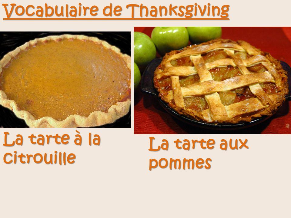 Vocabulaire de Thanksgiving La tarte à la citrouille La tarte aux pommes