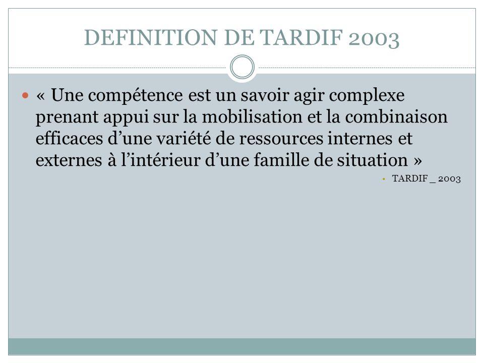 DEFINITION DE TARDIF 2003 « Une compétence est un savoir agir complexe prenant appui sur la mobilisation et la combinaison efficaces dune variété de r