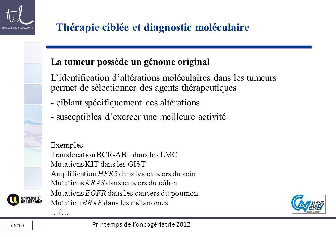 CN009 Printemps de loncogériatrie 2012 La tumeur possède un génome original Lidentification daltérations moléculaires dans les tumeurs permet de sélec