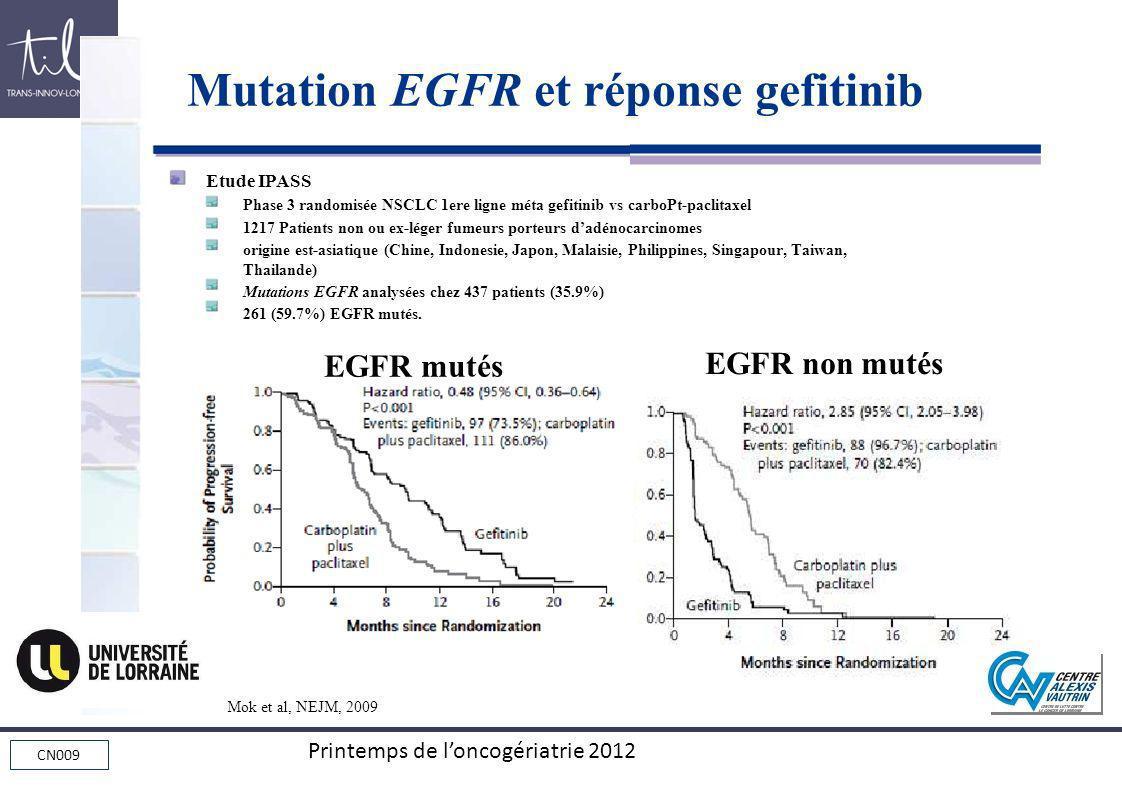 CN009 Printemps de loncogériatrie 2012 Etude IPASS Phase 3 randomisée NSCLC 1ere ligne méta gefitinib vs carboPt-paclitaxel 1217 Patients non ou ex-lé