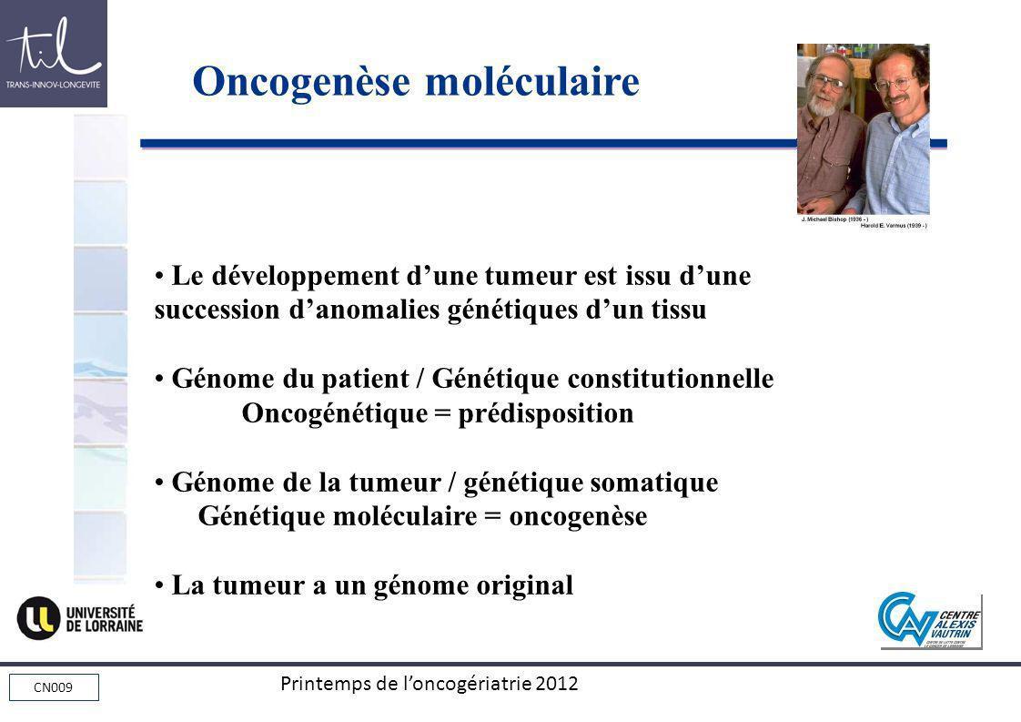 CN009 Printemps de loncogériatrie 2012 Le développement dune tumeur est issu dune succession danomalies génétiques dun tissu Génome du patient / Génét