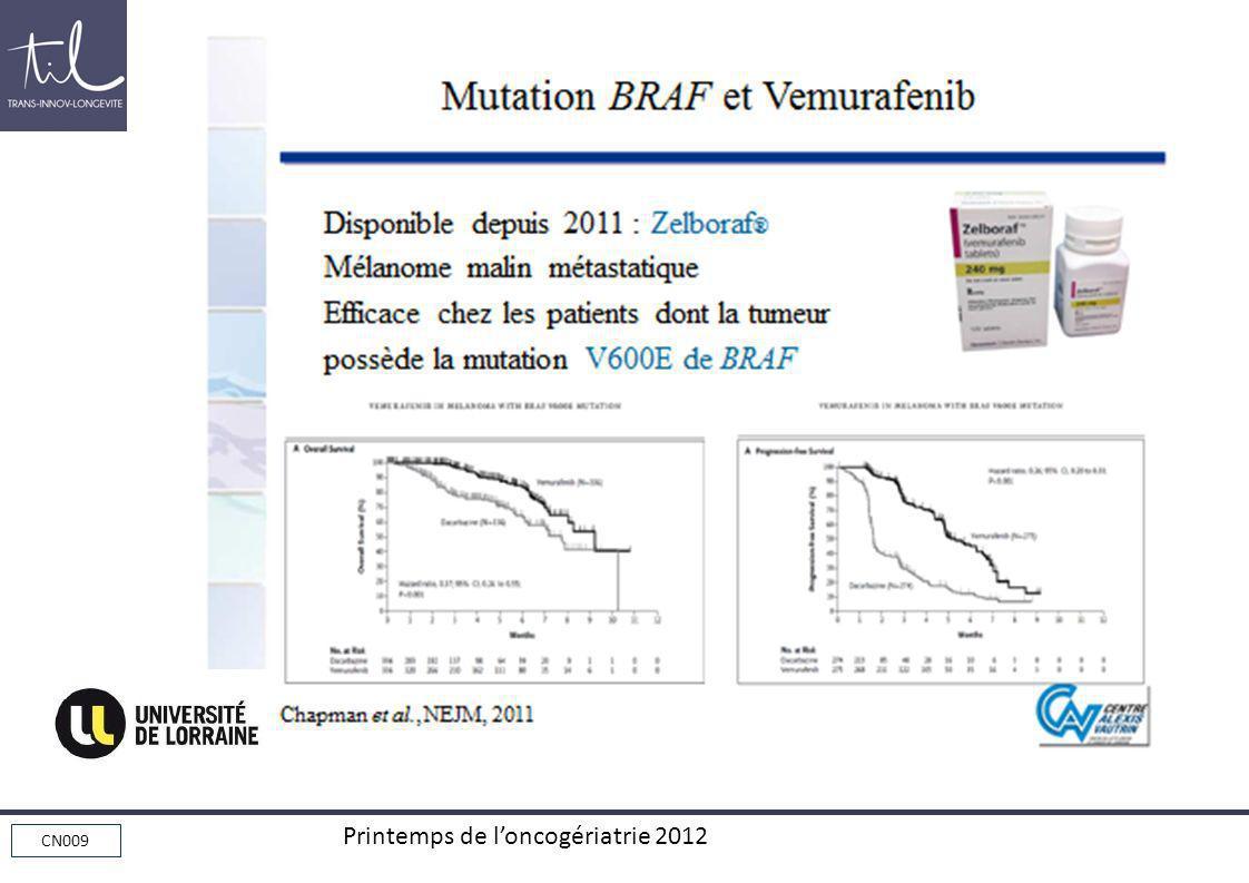 CN009 Printemps de loncogériatrie 2012 Mutation BRAF et Vemurafenib