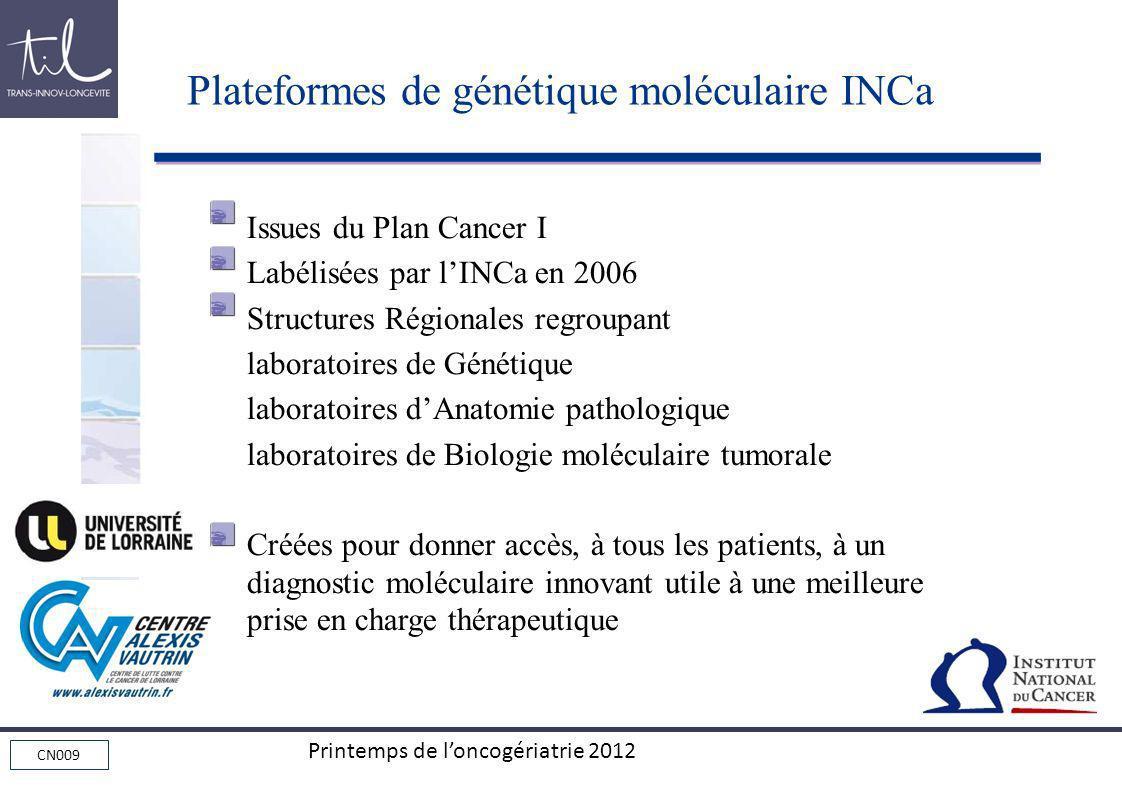 CN009 Printemps de loncogériatrie 2012 Issues du Plan Cancer I Labélisées par lINCa en 2006 Structures Régionales regroupant laboratoires de Génétique