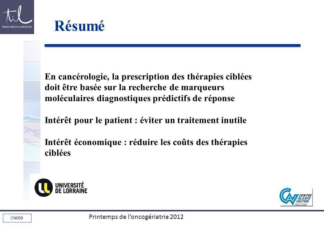 CN009 Printemps de loncogériatrie 2012 En cancérologie, la prescription des thérapies ciblées doit être basée sur la recherche de marqueurs moléculair