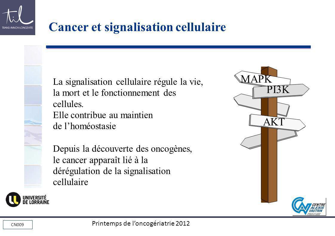 CN009 Printemps de loncogériatrie 2012 La signalisation cellulaire régule la vie, la mort et le fonctionnement des cellules. Elle contribue au maintie