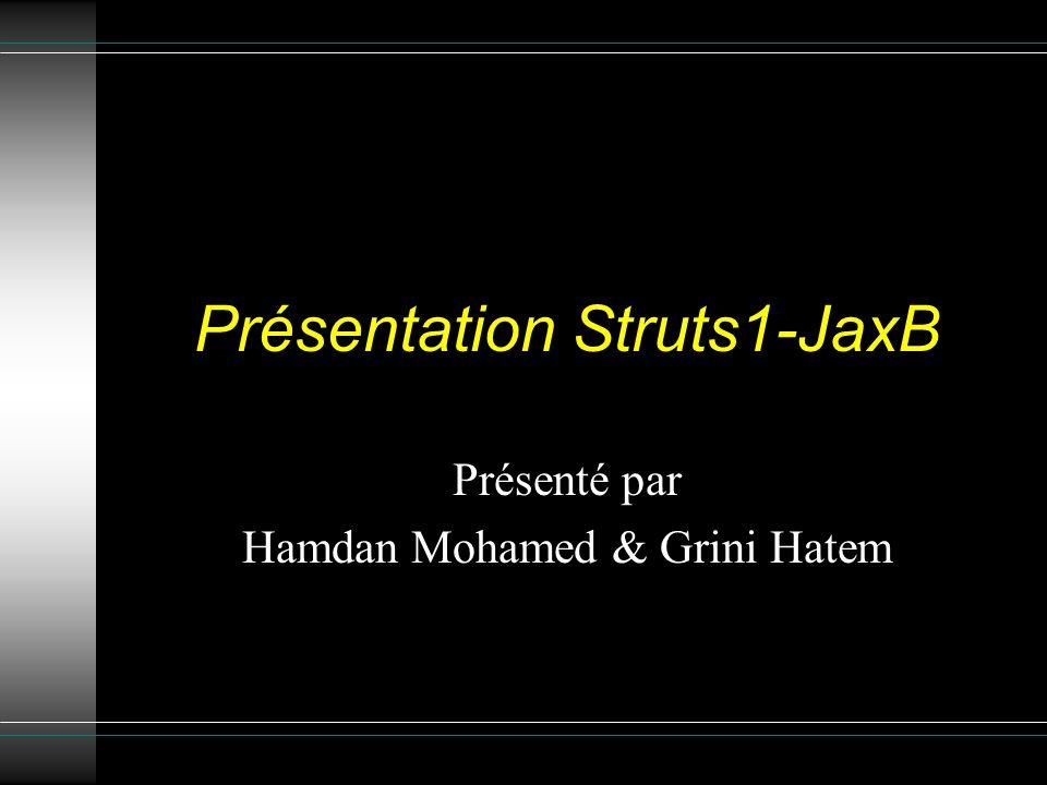 Présentation Struts1-JaxB Présenté par Hamdan Mohamed & Grini Hatem