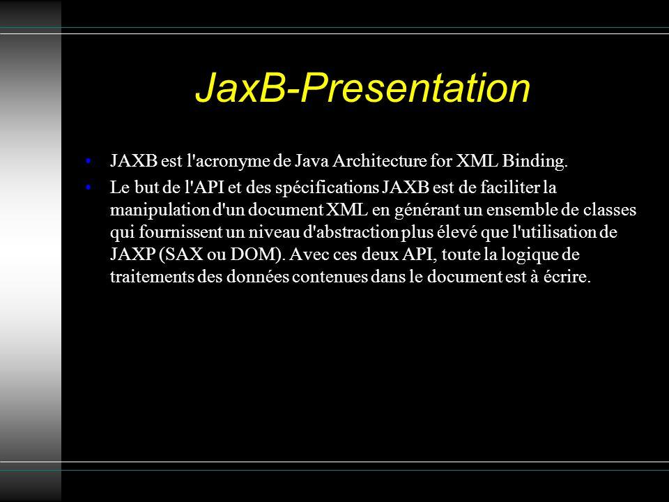 JaxB-Presentation JAXB est l acronyme de Java Architecture for XML Binding.