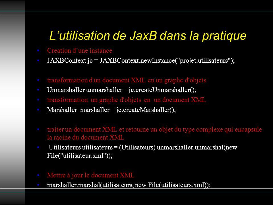 Lutilisation de JaxB dans la pratique Creation dune instance JAXBContext jc = JAXBContext.newInstance( projet.utilisateurs ); transformation d un document XML en un graphe d objets Unmarshaller unmarshaller = jc.createUnmarshaller(); transformation un graphe d objets en un document XML Marshaller marshaller = jc.createMarshaller(); traiter un document XML et retourne un objet du type complexe qui encapsule la racine du document XML Utilisateurs utilisateurs = (Utilisateurs) unmarshaller.unmarshal(new File( utilisateur.xml )); Mettre à jour le document XML marshaller.marshal(utilisateurs, new File(utilisateurs.xml));