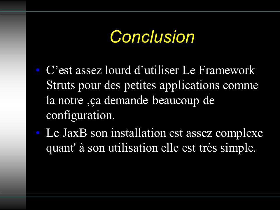 Conclusion Cest assez lourd dutiliser Le Framework Struts pour des petites applications comme la notre,ça demande beaucoup de configuration.