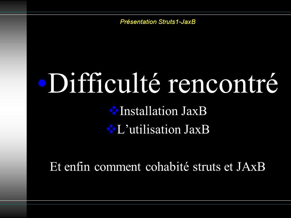 Présentation Struts1-JaxB Difficulté rencontré Installation JaxB Lutilisation JaxB Et enfin comment cohabité struts et JAxB