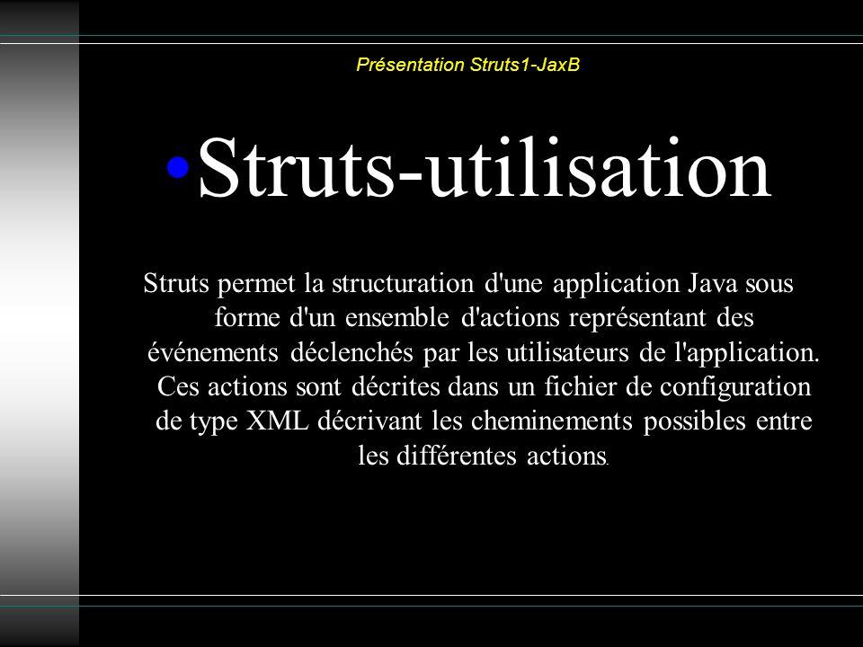 Présentation Struts1-JaxB Struts-utilisation Struts permet la structuration d une application Java sous forme d un ensemble d actions représentant des événements déclenchés par les utilisateurs de l application.