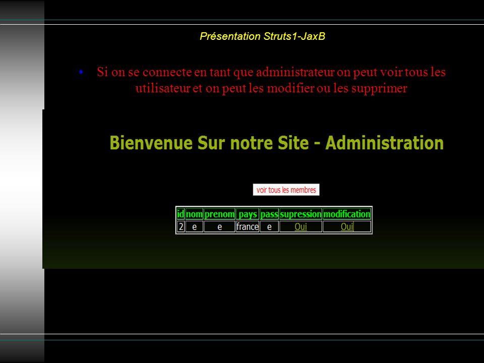 Présentation Struts1-JaxB Si on se connecte en tant que administrateur on peut voir tous les utilisateur et on peut les modifier ou les supprimer