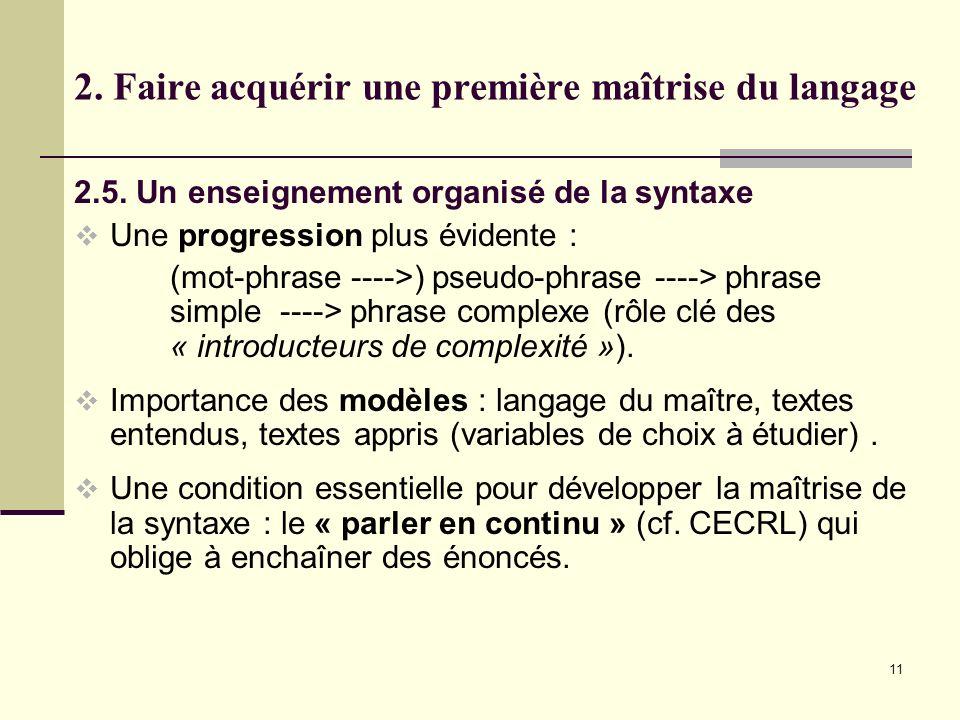 11 2. Faire acquérir une première maîtrise du langage 2.5. Un enseignement organisé de la syntaxe Une progression plus évidente : (mot-phrase ---->) p