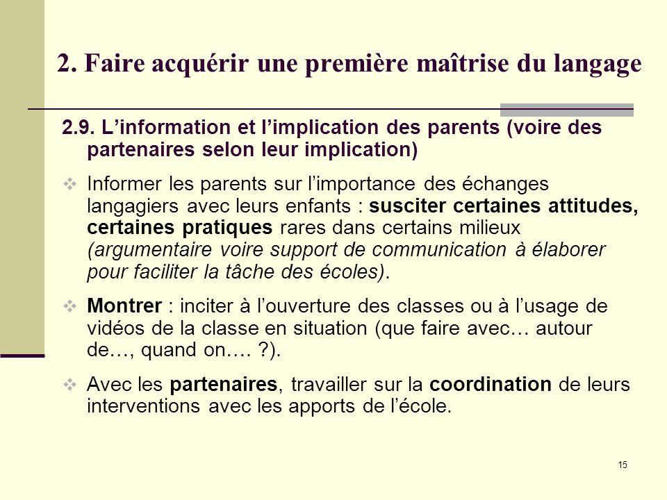 15 2. Faire acquérir une première maîtrise du langage 2.9. Linformation et limplication des parents (voire des partenaires selon leur implication) Inf
