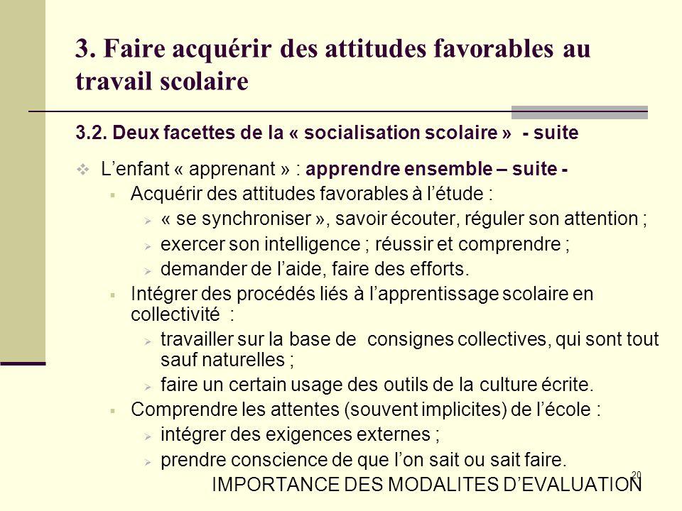 20 3. Faire acquérir des attitudes favorables au travail scolaire 3.2. Deux facettes de la « socialisation scolaire » - suite Lenfant « apprenant » :