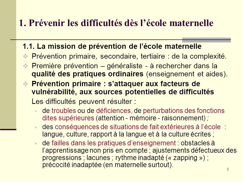 3 1. Prévenir les difficultés dès lécole maternelle 1.1. La mission de prévention de lécole maternelle Prévention primaire, secondaire, tertiaire : de