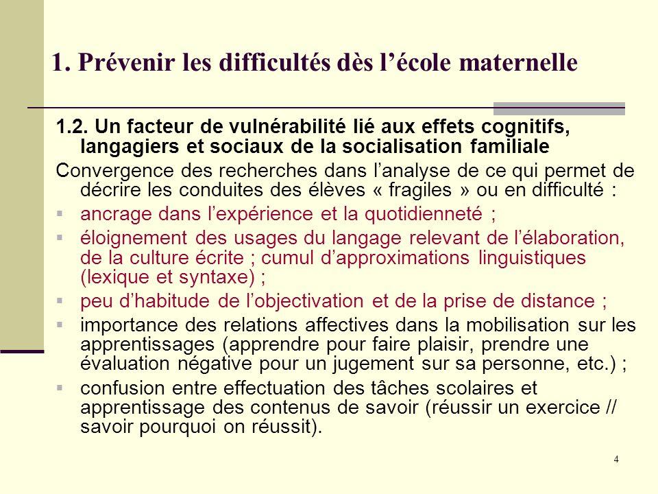 4 1. Prévenir les difficultés dès lécole maternelle 1.2. Un facteur de vulnérabilité lié aux effets cognitifs, langagiers et sociaux de la socialisati