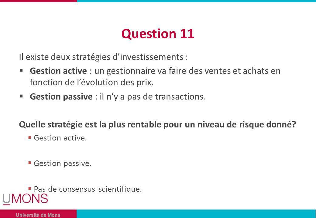 Université de Mons Question 11 Il existe deux stratégies dinvestissements : Gestion active : un gestionnaire va faire des ventes et achats en fonction de lévolution des prix.