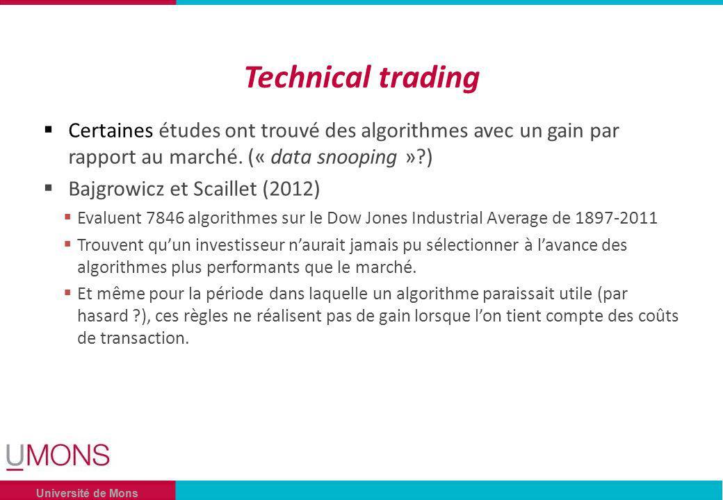 Université de Mons Technical trading Certaines études ont trouvé des algorithmes avec un gain par rapport au marché.