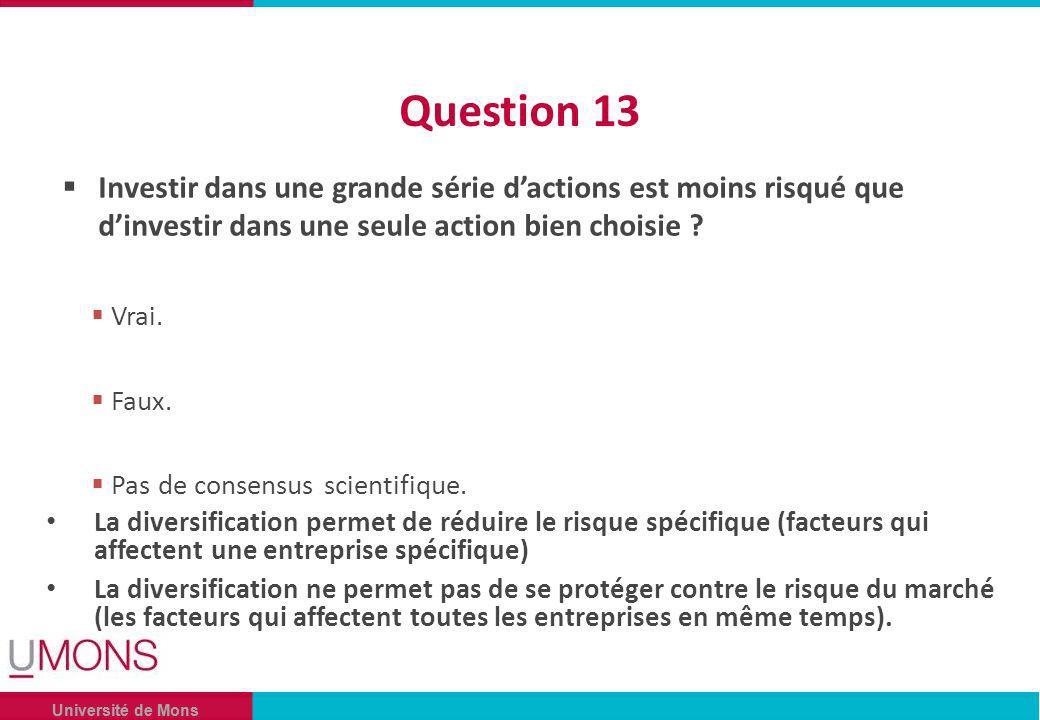 Université de Mons Question 13 Investir dans une grande série dactions est moins risqué que dinvestir dans une seule action bien choisie .