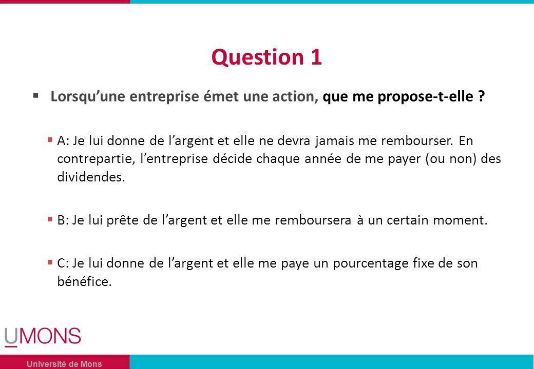 Université de Mons Question 1 Lorsquune entreprise émet une action, que me propose-t-elle .