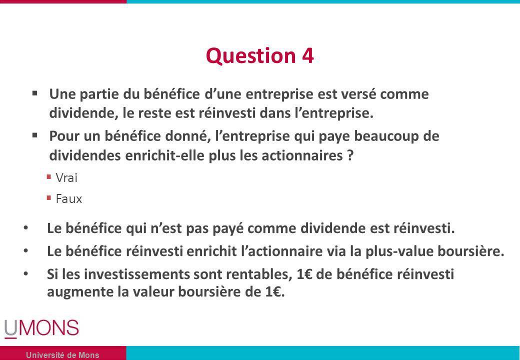 Université de Mons Question 4 Une partie du bénéfice dune entreprise est versé comme dividende, le reste est réinvesti dans lentreprise.