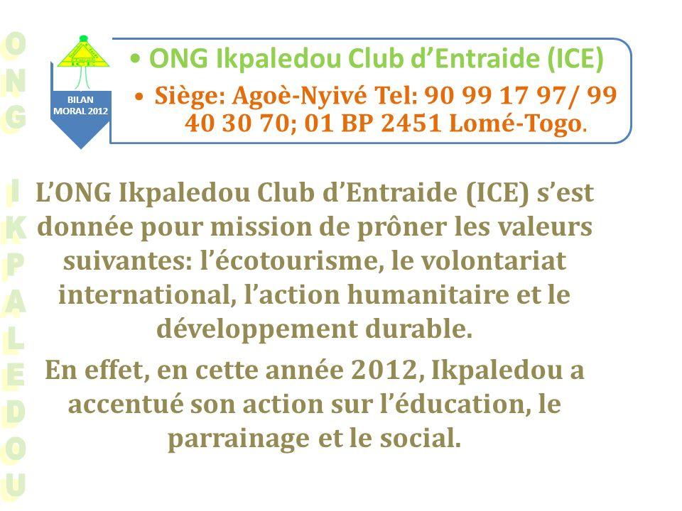 BILAN MORAL 2012 ONG Ikpaledou Club dEntraide (ICE) Siège: Agoè-Nyivé Tel: 90 99 17 97/ 99 40 30 70; 01 BP 2451 Lomé-Togo.
