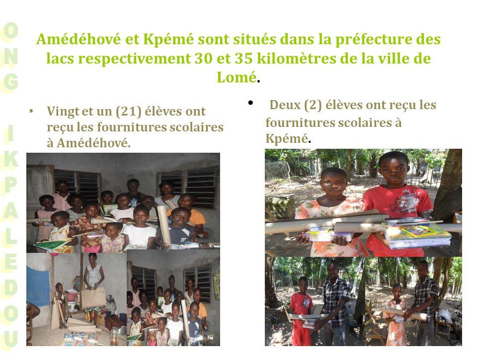 Amédéhové et Kpémé sont situés dans la préfecture des lacs respectivement 30 et 35 kilomètres de la ville de Lomé.